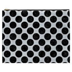 Circles2 Black Marble & White Leather Cosmetic Bag (xxxl)