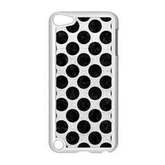 Circles2 Black Marble & White Leather Apple Ipod Touch 5 Case (white)