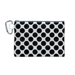 Circles2 Black Marble & White Leather Canvas Cosmetic Bag (m)