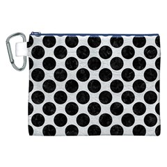 Circles2 Black Marble & White Leather Canvas Cosmetic Bag (xxl)