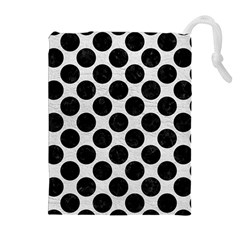 Circles2 Black Marble & White Leather Drawstring Pouches (extra Large)