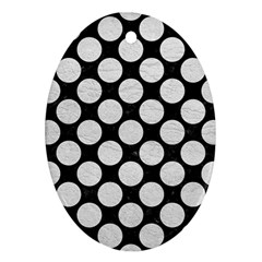 Circles2 Black Marble & White Leather (r) Ornament (oval)
