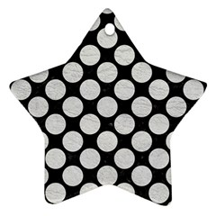 Circles2 Black Marble & White Leather (r) Ornament (star)
