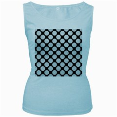 Circles2 Black Marble & White Leather (r) Women s Baby Blue Tank Top