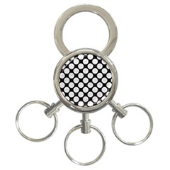 Circles2 Black Marble & White Leather (r) 3 Ring Key Chains