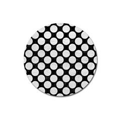 Circles2 Black Marble & White Leather (r) Magnet 3  (round)