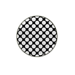 Circles2 Black Marble & White Leather (r) Hat Clip Ball Marker (10 Pack)