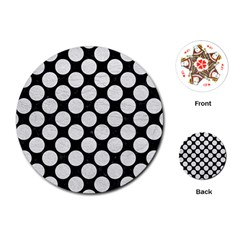 Circles2 Black Marble & White Leather (r) Playing Cards (round)