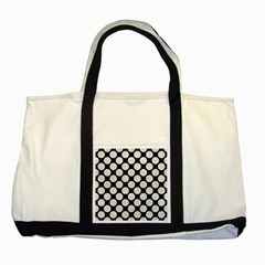 Circles2 Black Marble & White Leather (r) Two Tone Tote Bag