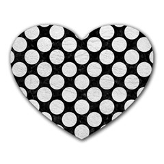 Circles2 Black Marble & White Leather (r) Heart Mousepads