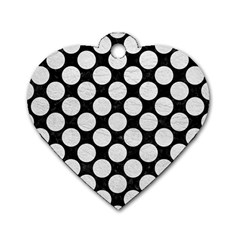 Circles2 Black Marble & White Leather (r) Dog Tag Heart (two Sides)