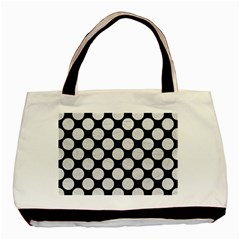 Circles2 Black Marble & White Leather (r) Basic Tote Bag (two Sides)
