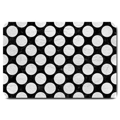Circles2 Black Marble & White Leather (r) Large Doormat