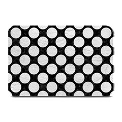 Circles2 Black Marble & White Leather (r) Plate Mats