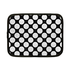 Circles2 Black Marble & White Leather (r) Netbook Case (small)