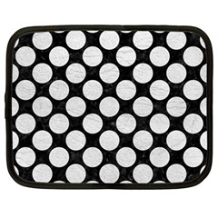 Circles2 Black Marble & White Leather (r) Netbook Case (large)