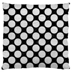 Circles2 Black Marble & White Leather (r) Large Cushion Case (one Side)