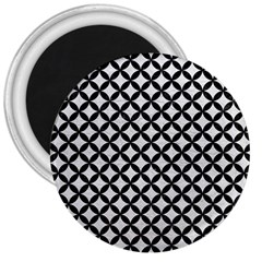 Circles3 Black Marble & White Leather 3  Magnets