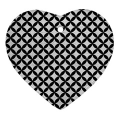 Circles3 Black Marble & White Leather Ornament (heart)