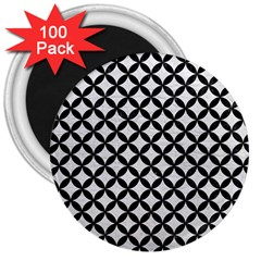 Circles3 Black Marble & White Leather 3  Magnets (100 Pack)