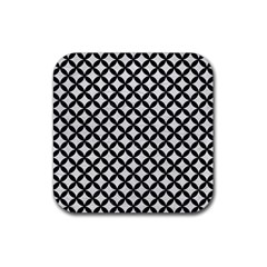 Circles3 Black Marble & White Leather Rubber Square Coaster (4 Pack)