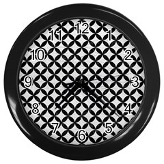 Circles3 Black Marble & White Leather Wall Clocks (black)