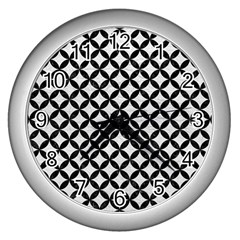 Circles3 Black Marble & White Leather Wall Clocks (silver)