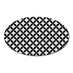 Circles3 Black Marble & White Leather Oval Magnet