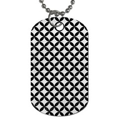 Circles3 Black Marble & White Leather Dog Tag (one Side)