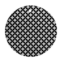 Circles3 Black Marble & White Leather Round Ornament (two Sides)