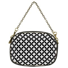 Circles3 Black Marble & White Leather Chain Purses (one Side)