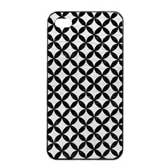 Circles3 Black Marble & White Leather Apple Iphone 4/4s Seamless Case (black)