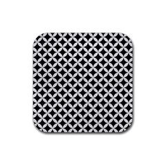 Circles3 Black Marble & White Leather (r) Rubber Square Coaster (4 Pack)