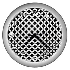 Circles3 Black Marble & White Leather (r) Wall Clocks (silver)