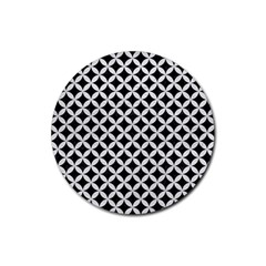 Circles3 Black Marble & White Leather (r) Rubber Round Coaster (4 Pack)