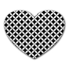 Circles3 Black Marble & White Leather (r) Heart Mousepads