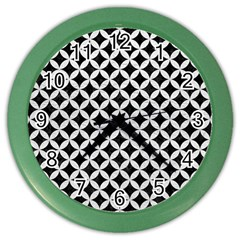 Circles3 Black Marble & White Leather (r) Color Wall Clocks