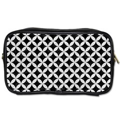 Circles3 Black Marble & White Leather (r) Toiletries Bags 2 Side