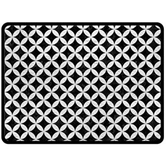 Circles3 Black Marble & White Leather (r) Double Sided Fleece Blanket (large)