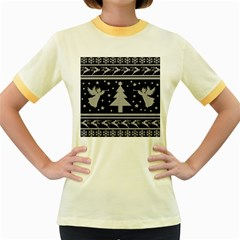 Ugly Christmas Sweater Women s Fitted Ringer T Shirts