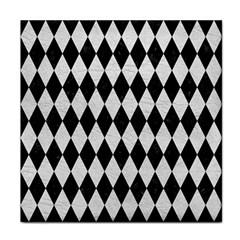 Diamond1 Black Marble & White Leather Tile Coasters