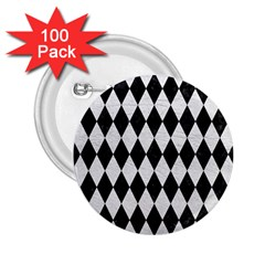 Diamond1 Black Marble & White Leather 2 25  Buttons (100 Pack)
