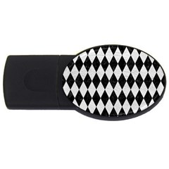 Diamond1 Black Marble & White Leather Usb Flash Drive Oval (2 Gb)