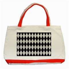 Diamond1 Black Marble & White Leather Classic Tote Bag (red)