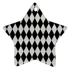 Diamond1 Black Marble & White Leather Star Ornament (two Sides)