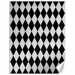 Diamond1 Black Marble & White Leather Canvas 18  X 24
