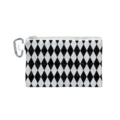 Diamond1 Black Marble & White Leather Canvas Cosmetic Bag (s)