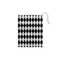 Diamond1 Black Marble & White Leather Drawstring Pouches (xs)