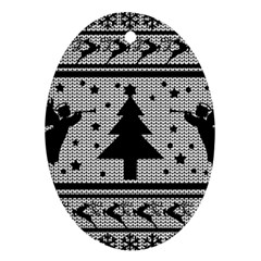 Ugly Christmas Sweater Oval Ornament (two Sides)