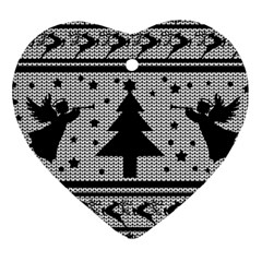 Ugly Christmas Sweater Heart Ornament (two Sides)